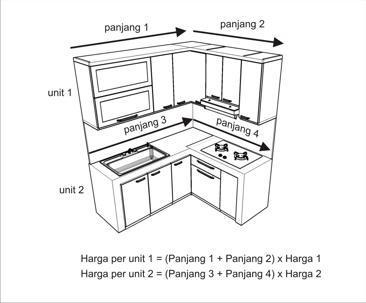 Jual cara menghitung harga kitchen set furniture for Ukuran rak piring kitchen set