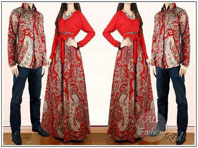 Jual Couple Baleto Red Baju Batik Sarimbit Keluarga Muslim