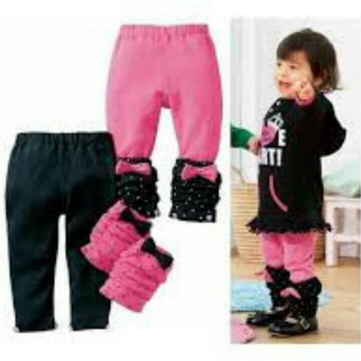 Celana Legging Anak Perempuan Bahan Kaos Dapat Ruffle Serut