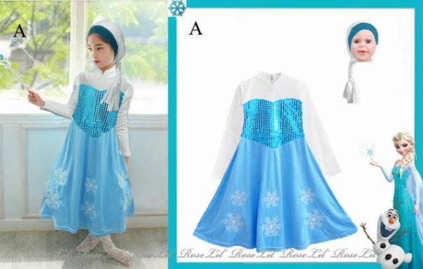 ELSA FROZEN KEPANG HIJAB Baju Anak Branded Jilbab Dress Kostum Muslim