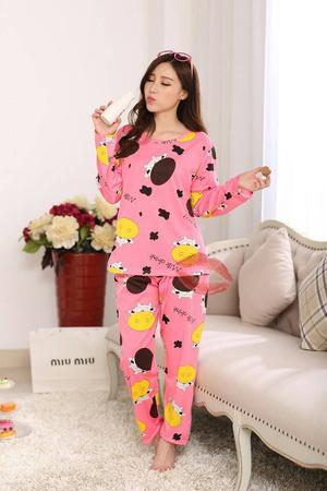 baju tidur wanita piyama setelan piyama sapi pink