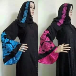 Gamis Satin (hijab, resleting depan, gamis arab,baju pesta)