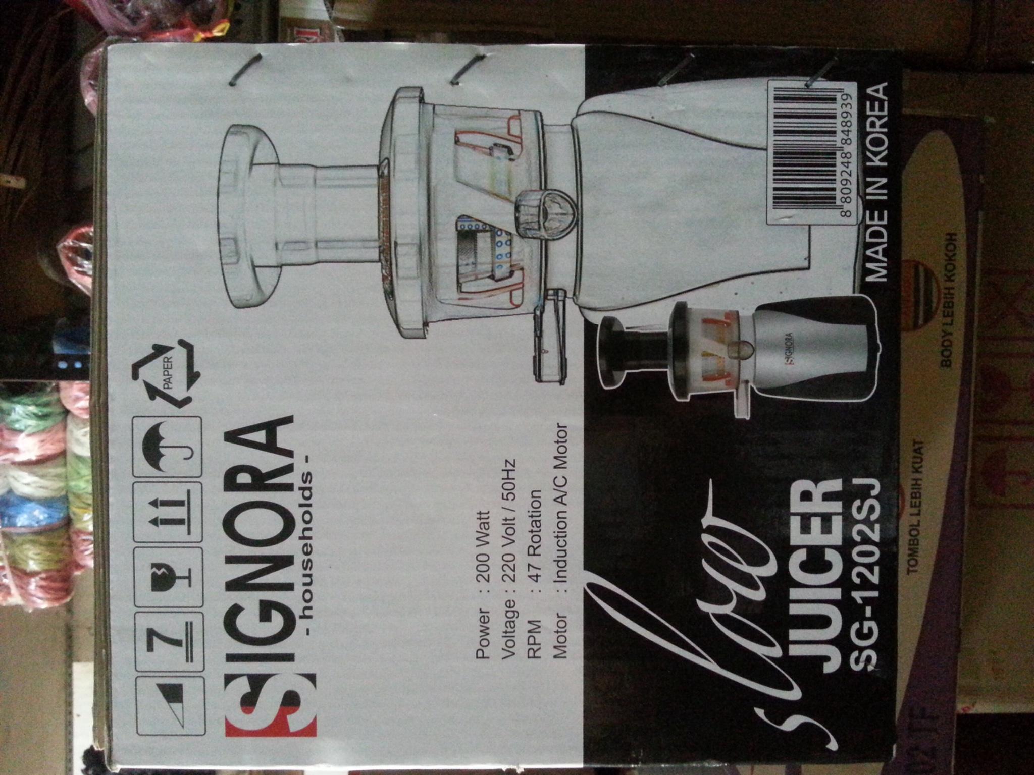 Mini Slow Juicer Signora : Jual Slow juicer signora SG-1202SJ bonus 30 cm pan signora - prima sport Tokopedia