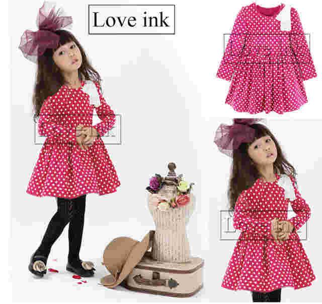 DRKD77 - Dress Anak LP Pink Dot Apk Pita Murah