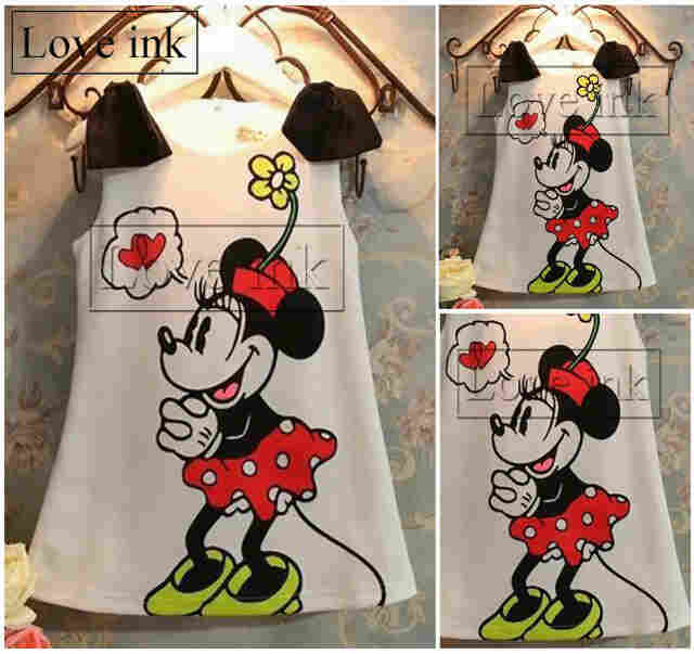 DRKD80 - Dress Anak Tanktop Minnie Mouse White