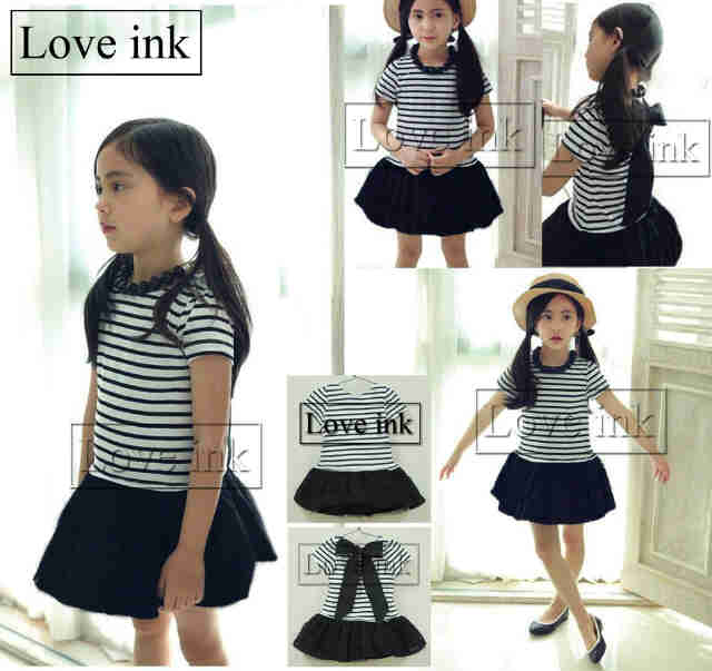 DRKD78 - Dress Anak Stripe Black Ribbon Back Murah