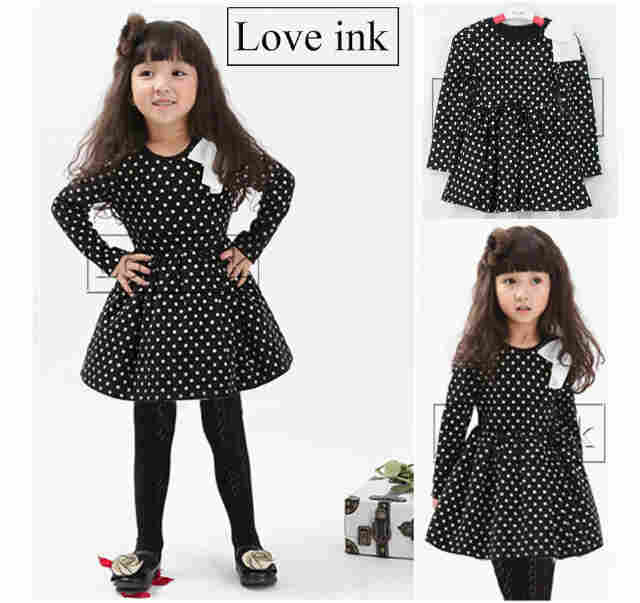 DRKD76 - Dress Anak LP Black Dot Apk Pita Murah