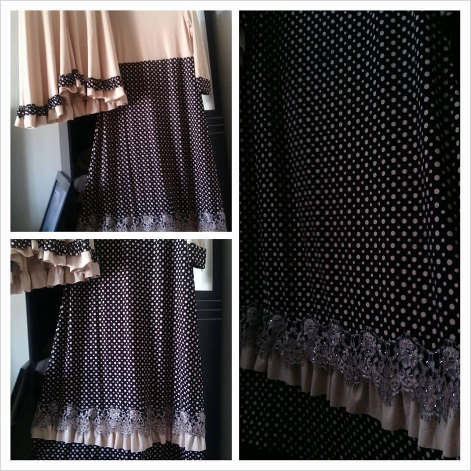 set hijab syar'i premium quality motif polkadot /dot warna coklat muda