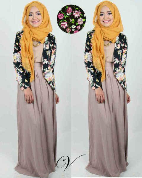 pakaian muslim wanita dengan motif bunga asli (hijab flower black)