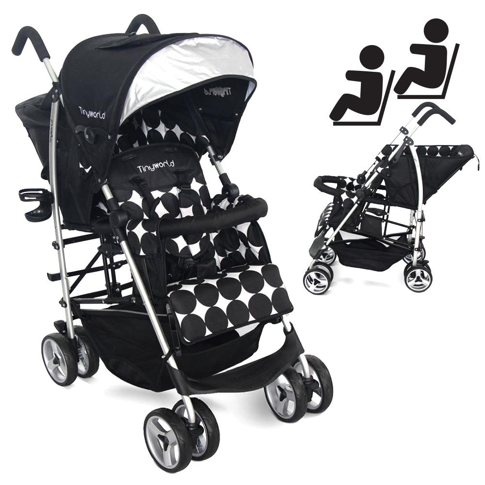 Tandem Twin Double Stroller Kembar Baby Tinyworld BLACK Hitam TWDUO-B