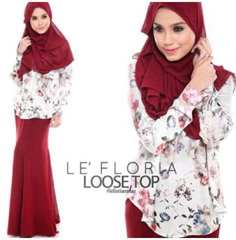 Set Hijab Floria spandex print fit to L+ 3in1