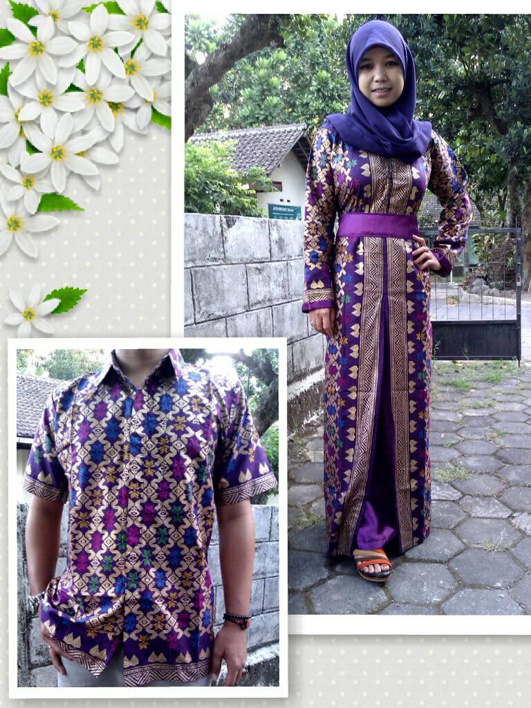 Jual Sarimbit Batik Batik Couple Gamis Muslim Ungu Songket Jogja 79eb493c92