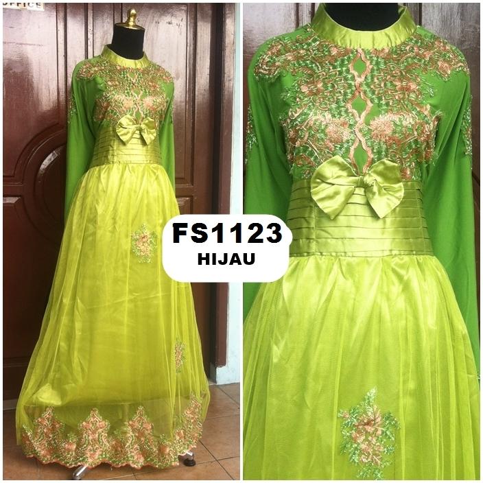 Jual Baju Pesta Maxi Dress Spandek Satin Dan Tile Fs1123 Butik