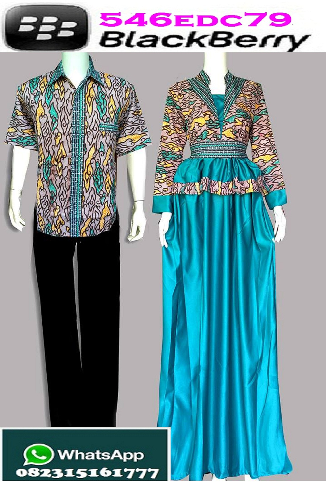 Jual Couple Gamis Hijab Muslimah Batik Mega Mendung