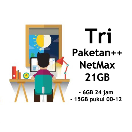 harga Kartu Paket Perdana Internet 3 Three Tri NETMAX Kuota 21Gb 21 Gb Tokopedia.com