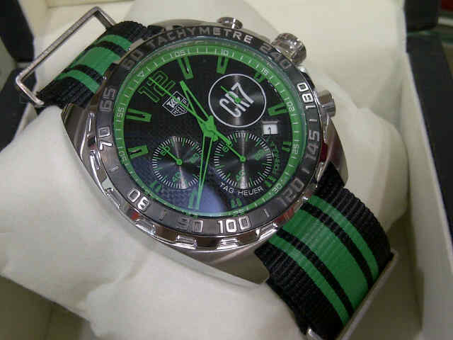 Jual tag heuer f1 cristiano ronaldo cr7 silver green canvas limited edition oniomania tokopedia for Cristiano ronaldo tag heuer