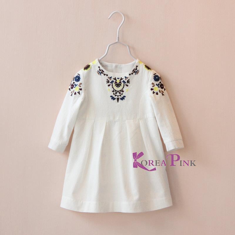 Harga Baju Dress Anak Perempuan Putih Kalung Bordir Korea
