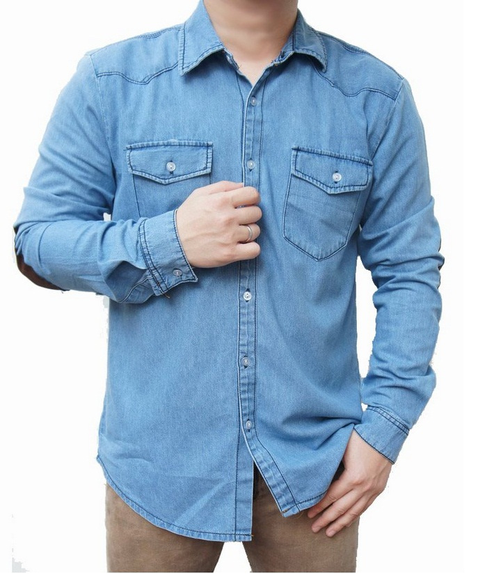 kemeja denim jeans patch pria murah