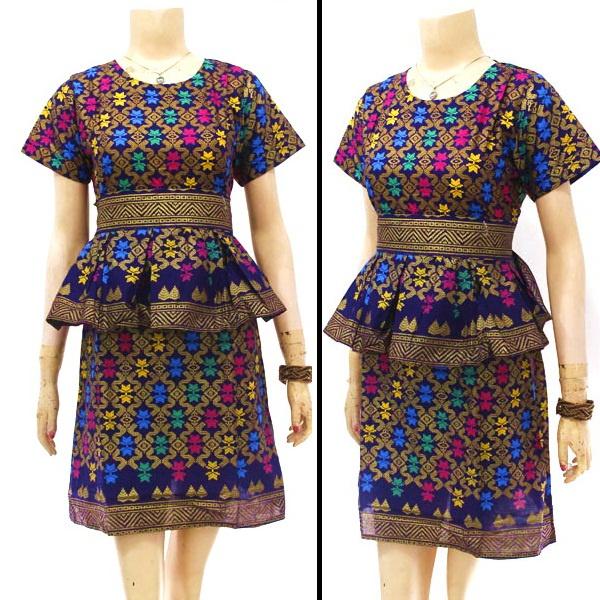 Jual Gamis Batik Longdress Batik Gaun Hijab Tenun