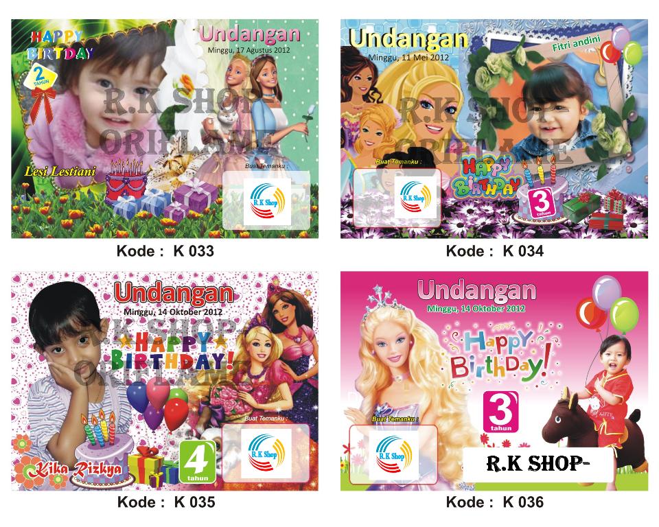 Jual Kartu Undangan Ulang Tahun Anak Kode 025 - 036 - R.K Shop ...