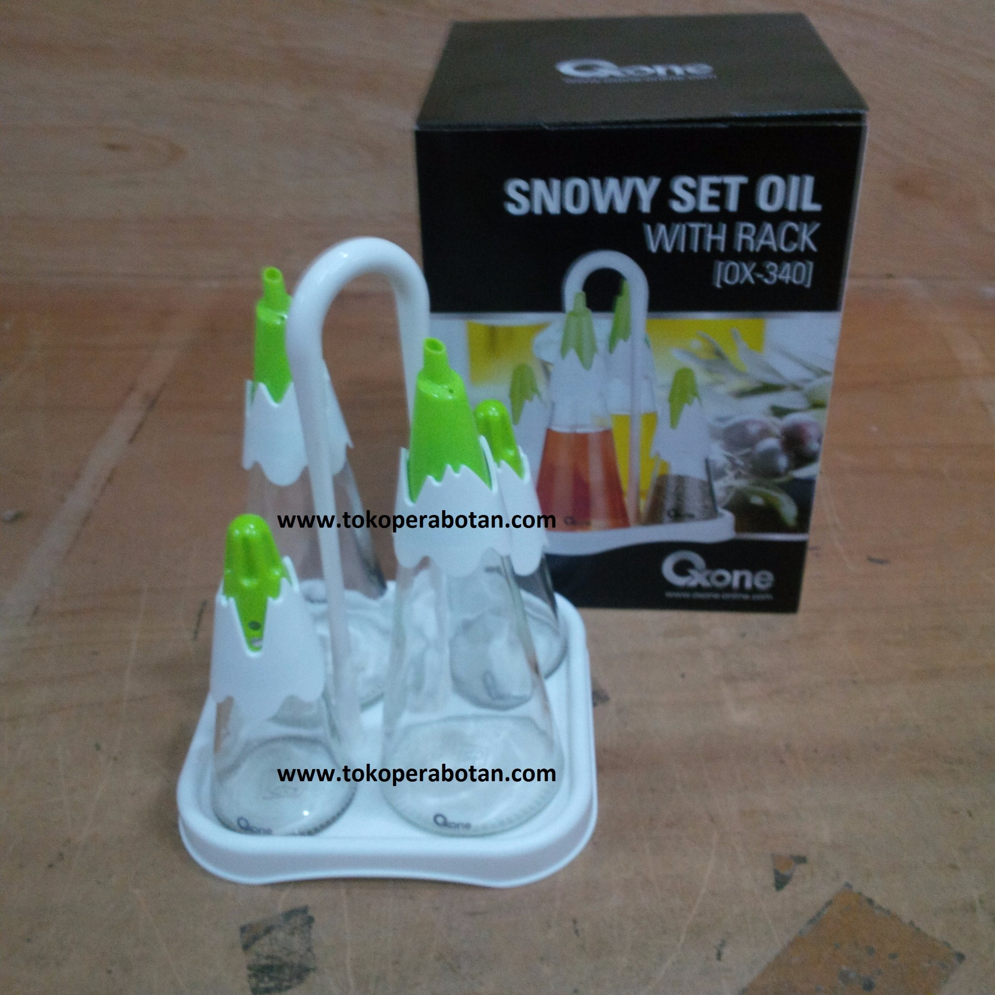 Jual (Packing Bubblewarp) Oxone Ox-340 Snowy set Oil / Tempat Bumbu Oxone
