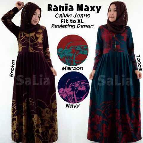 Jual Gamis Maxi Dress Rania Bahan Calvin Jeans Danishahijab