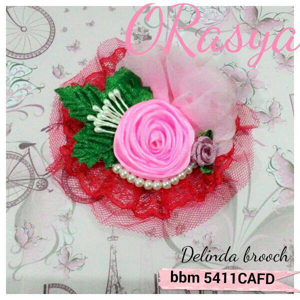 Delinda Merah brooch / bross / bros jilbab hijab