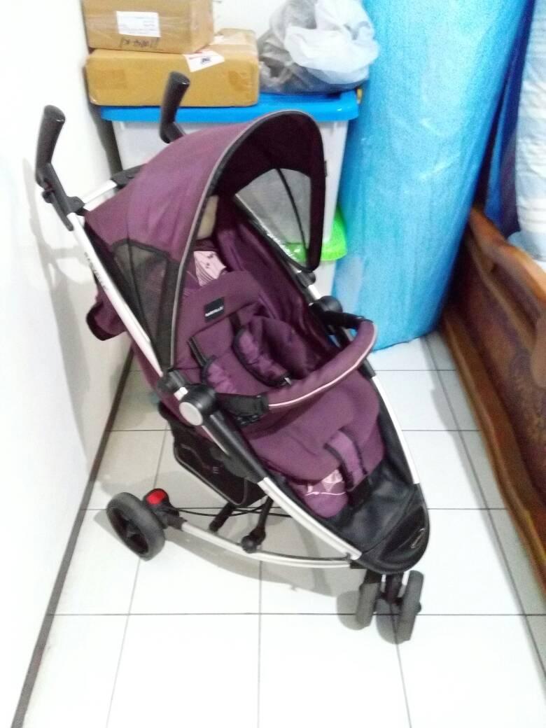 harga Second - Stroller /Kereta Bayi Merk Baby Elle Ungu 3 Roda Tokopedia.com