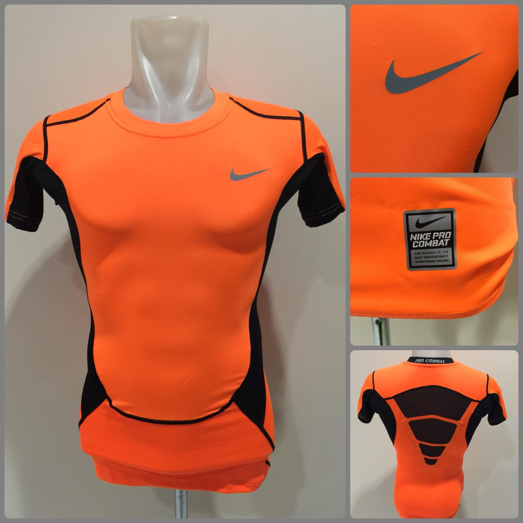 Kaos Baselayer Nike Pro Combat Vapor Short Sleeve Orange Black