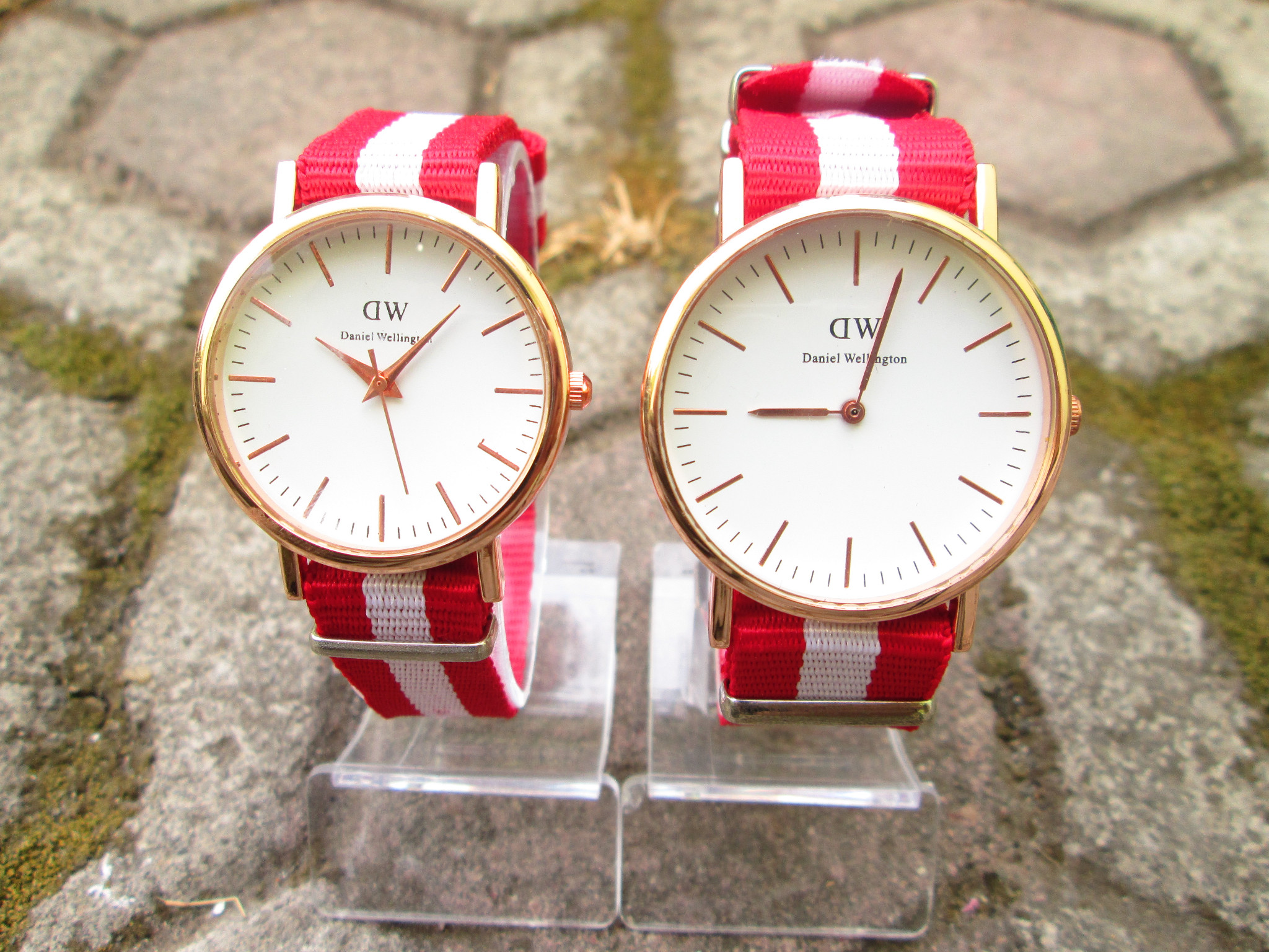 Jual DANIEL WELLINGTON 3 STRIP MERAH PUTIH MERAH Jam Couple DW Watch JamCoupleJKT .