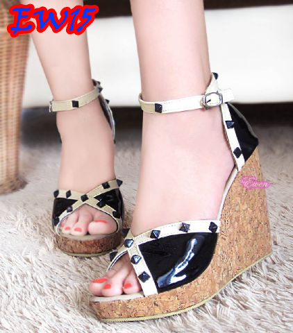 harga sepatu/sandal wanita wedges,  EW15 Black 12cm Tokopedia.com