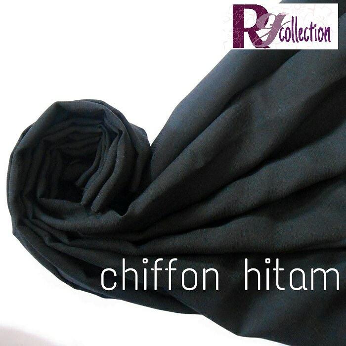 pashmina double hycon 180 x 55 cm wanita hijab kerudung black hitam