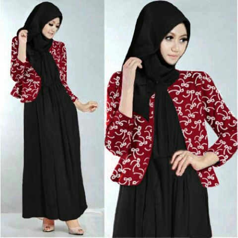 Maxi blazer rok hijab spandek ribbon hijab (merah) M