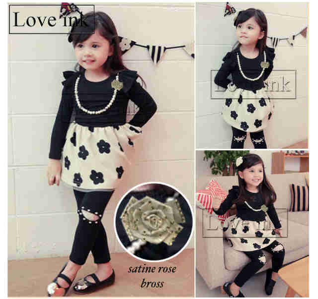 DRKD82 - Dress Anak LP Black Flower + Kalung + Bros
