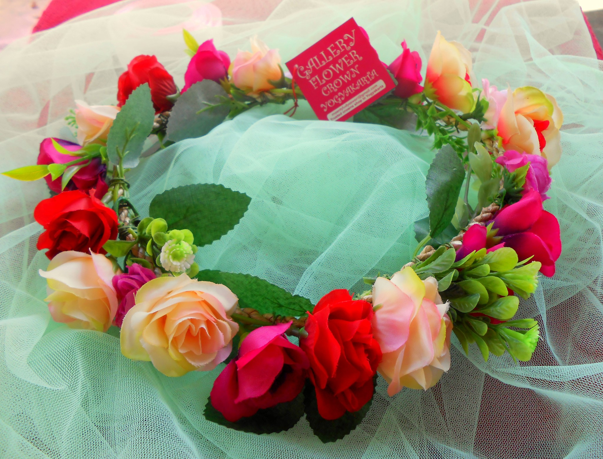 Jual Colorful Rose Blossoms Flower Crown Lullaby Flower Crown