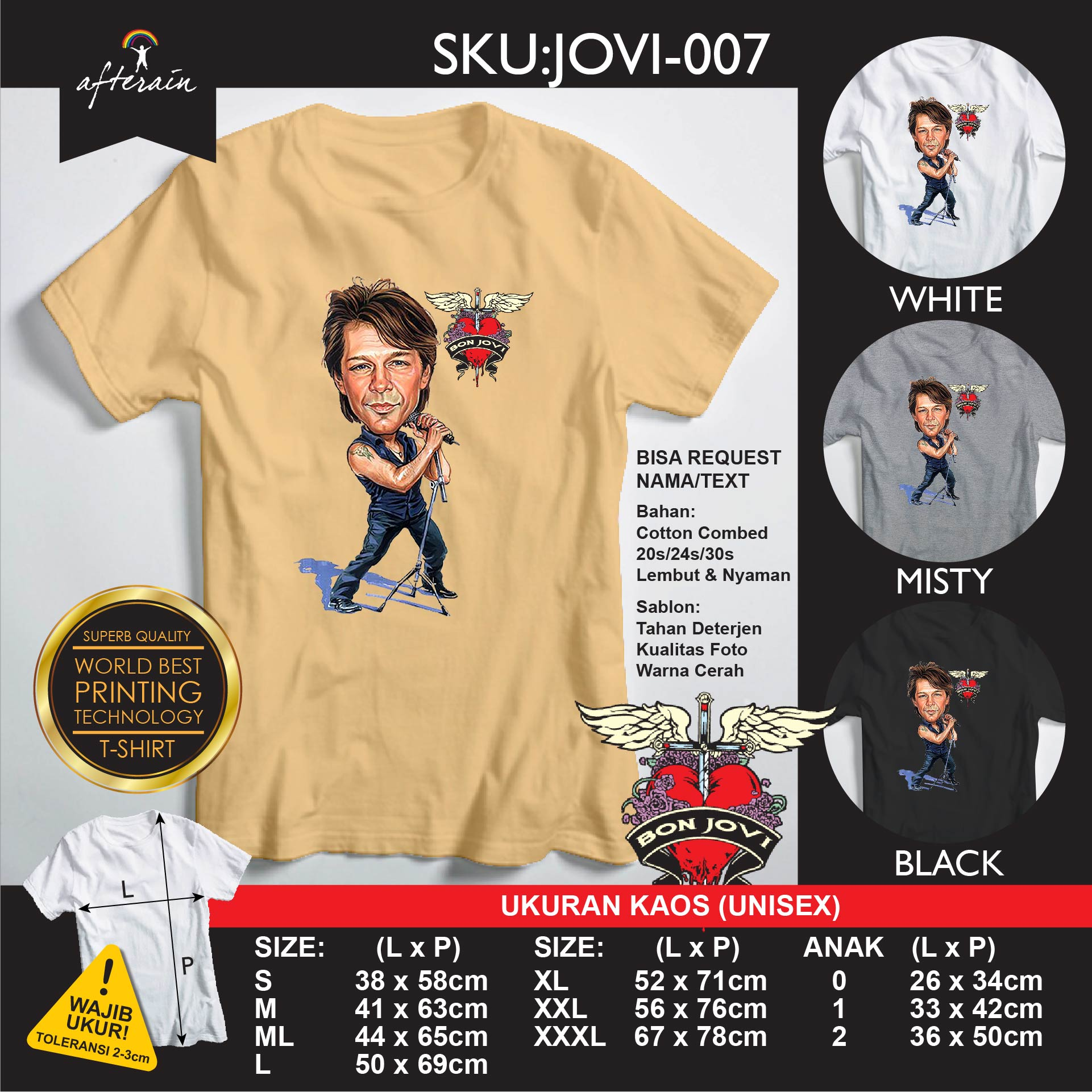 Jual Kaos Bon Jovi Tshirt Distro Bonjovi 07 Anak S M L Xl Ms Beauty Online Store Tokopedia