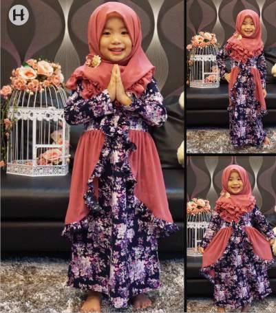 Jual Gamis Purple Flower Baju Anak Branded Jilbab Dress