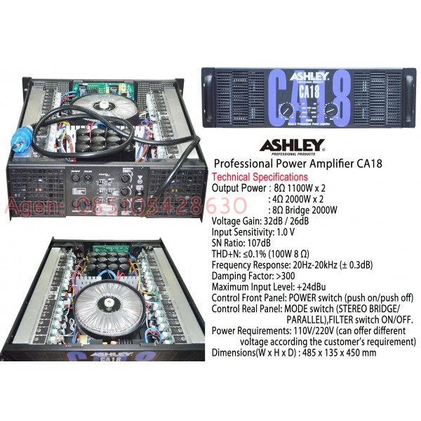 Jual Ashley CA18 Professional Power Amplifier Ampli