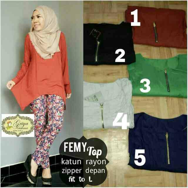 supplier baju hijab : femy top / kemeja busui