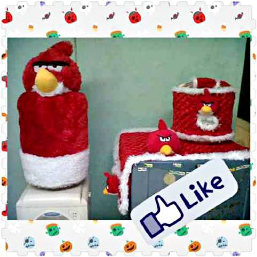 harga Set Cover Tutup Galon Kulkas Magic com Boneka Angry Bird Merah Tokopedia.com