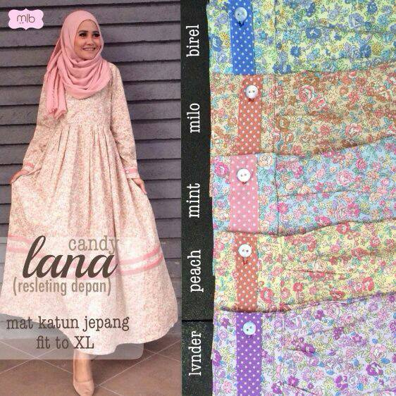 supplier baju hijab : lana dress ori by mlb / dress katun jepang