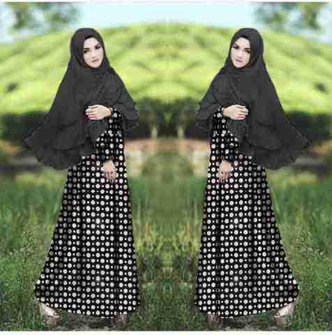 Hijab Khaira hitam bahan spandek korea , bergo bahan Jersey super