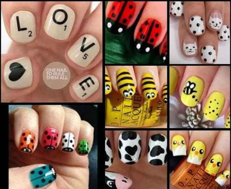 Рисунки лаком для ногтей на ногтях в домашних условиях