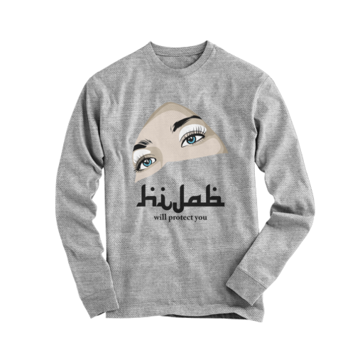 kaos tshirt Panjang Hijab 3D abu abu DTG custom