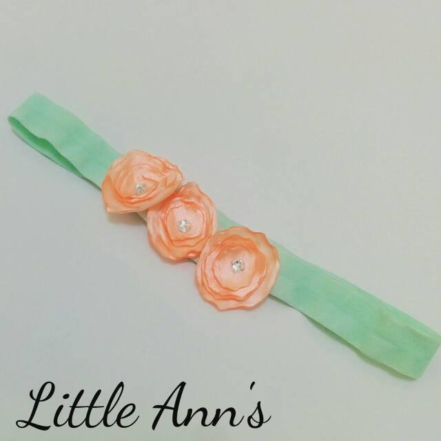 harga Bandana/ Headband Baby Triple Peach Flower Tokopedia.com