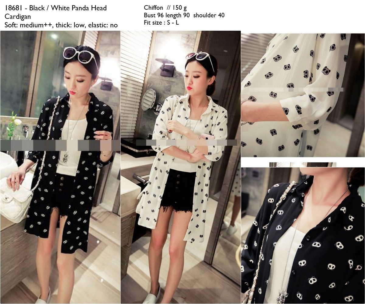 Jual Long Cardigan Import, White, Black, Hitam, Putih, Chiffon ...