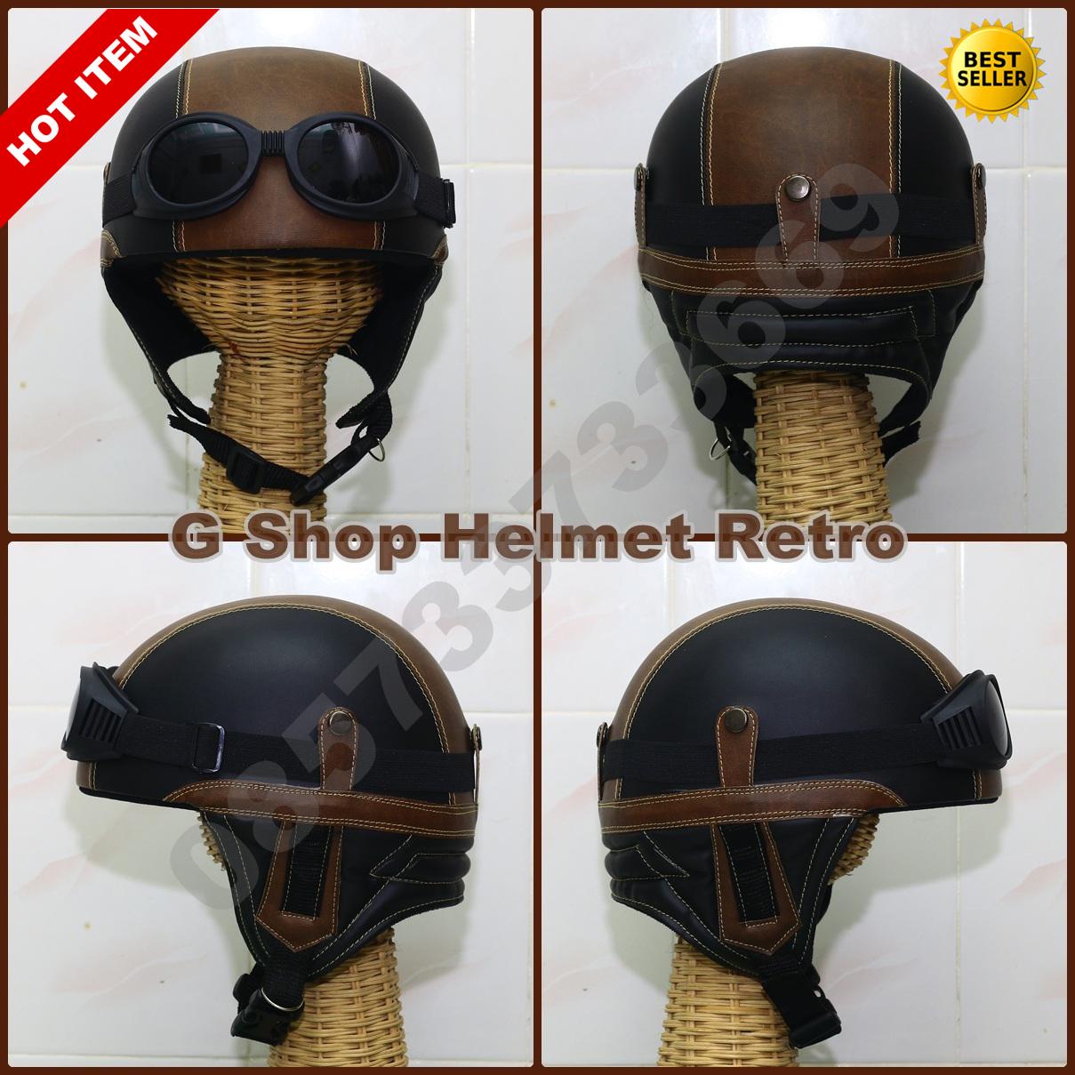 Helm Retro Jadul Chips Hitam Cokelat (vespa,cb,ulung)