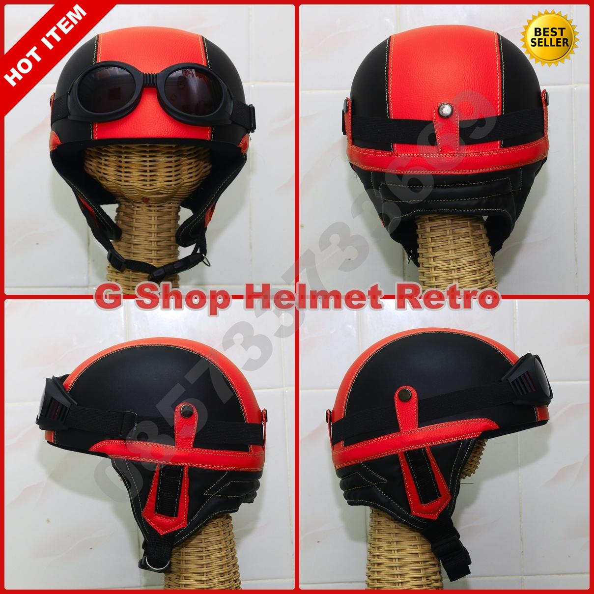 Helm Retro Jadul Chips Merah (vespa,cb,ulung)