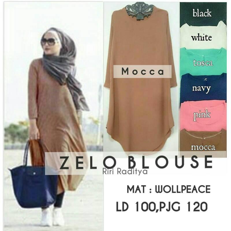 supplier baju hijab : zelo blouse ori by riri / tunik murah