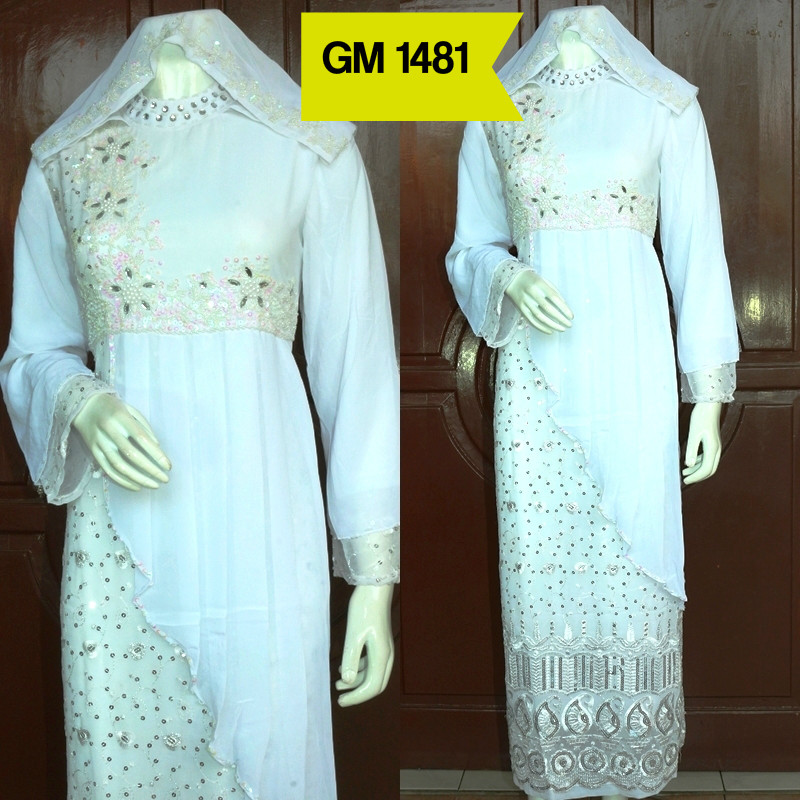 Jual Gamsi Putih Dengan Model Sari India Cantik Gamis India